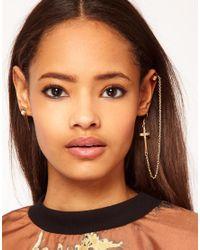 ASOS Collection - Metallic Drop Cross Ear Cuff Pearl Spike Earrings - Lyst