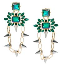 ASOS Collection | Green Spike Link Gem Drop Earring | Lyst