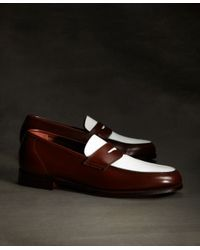 2a499a17b53 Lyst - Brooks Brothers White and Brown Spectator Loafer in White for Men