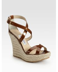 Jimmy Choo - Brown Porto Patent Leather Espadrille Wedge Sandals - Lyst