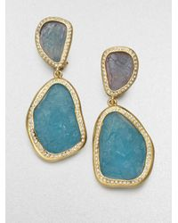 Kara Ross | Blue Textured Stone Drop Earrings | Lyst