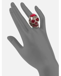 Alexander McQueen - Metallic Heart and Skull Ring - Lyst