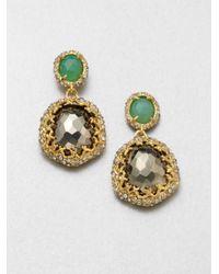 Alexis Bittar | Green Swarovski Crystal Accented Semiprecious Multistone Drop Earrings | Lyst