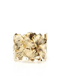 Aurelie Bidermann | Metallic Gold Plated Ginkgo Feather Articulated Cuff | Lyst