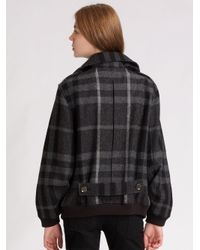 Burberry Brit - Gray Wool Tweed Bomber Jacket - Lyst