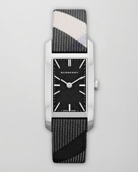 Burberry | Black Womens Swiss Beat Check Fabric Strap 20mm | Lyst