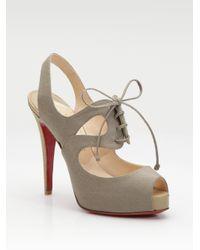Christian Louboutin | Brown Circonvolu Cotton Canvas Peep-toe Sandals | Lyst