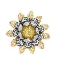 CZ by Kenneth Jay Lane | Metallic Flower Crystal Brooch | Lyst