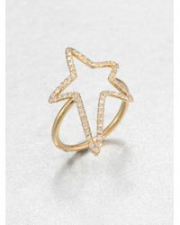 Diane Kordas | Metallic Diamond & 18k Yellow Gold Star Ring | Lyst