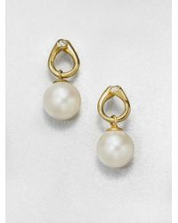 Georg Jensen | Metallic White Freshwater Pearl, Diamond And 18K Yellow Gold Drop Earrings | Lyst