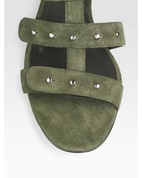 Gucci | Green Sigourney Suede Studded Sandals | Lyst