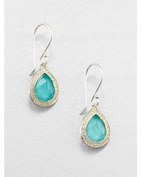Ippolita | Metallic Stella Turquoise, Clear Quartz, Diamond & Sterling Silver Doublet Teardrop Earrings | Lyst