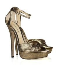 Jimmy Choo | Metallic 'Kaya' Sandals | Lyst