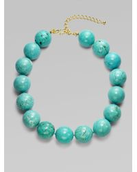 Kenneth Jay Lane - Blue Marble Bead Necklace - Lyst
