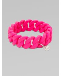 Marc By Marc Jacobs | Pink Rubber Wrapped Structural Chain Link Bangle Bracelet | Lyst