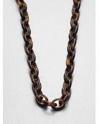 Michael Kors - Brown Tortoise Print Link Necklace - Lyst