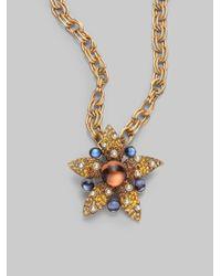 Oscar de la Renta | Metallic Pav233 Starfish Brooch Pendant Necklace | Lyst