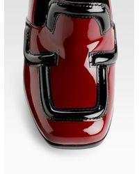 Prada - Red Bi-color Patent Loafer Pumps - Lyst