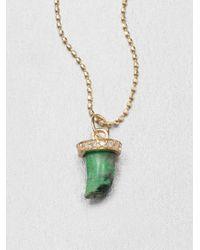 Sydney Evan | Diamond 14k Yellow Gold Green Jade Horn Pendant Necklace | Lyst