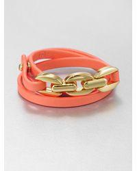 Tory Burch - Metallic Triple Wrap Leather Chain Bracelet - Lyst
