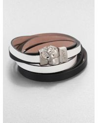 Alexander McQueen - Black Leather Bicolor Double-wrap Magnetic Skull Bracelet/silvertone - Lyst