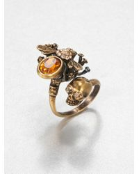 Alexander McQueen | Metallic Skull Bee Wrap Around Ring | Lyst
