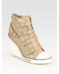 Ash | Natural Thelma Leather Wedge Sneakers | Lyst