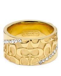 COACH | Metallic Half Signature Pave Band Ring | Lyst
