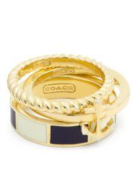 COACH | Metallic Anchor Stripe Stacking Ring | Lyst