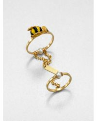 Delfina Delettrez | Metallic Two-in-one Bee Ring | Lyst
