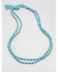 Eileen Fisher | Blue Silk Beaded Necklace | Lyst