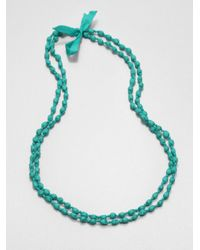 Eileen Fisher | Green Silk Beaded Necklace | Lyst