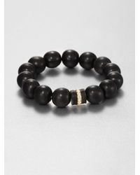 Elizabeth and James | Black Horn and White Topaz Bead Bracelet | Lyst