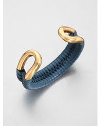 Giles & Brother - Blue Leather Laced Cortina Cuff - Lyst