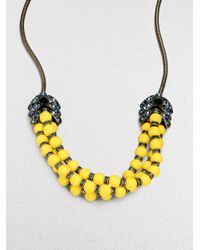 Giles & Brother - Black Long Garland Crystal Bead Necklace - Lyst