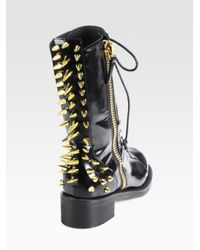 Giuseppe Zanotti - Black Studded Leather Combat Boots - Lyst