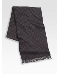 Gucci | Black Wool Scarf for Men | Lyst