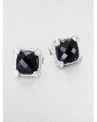 Judith Ripka | La Petite Black Onyx, White Sapphire & Sterling Silver Cushion Stud Earrings | Lyst