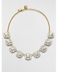 kate spade new york - Metallic Squared Sparkle Necklace - Lyst