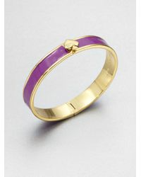 kate spade new york - Purple Enamel Accented Hinged Bangle Bracelet - Lyst