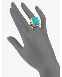 Konstantino | Blue Turquoise 18k Yellow Gold Sterling Silver Rectangular Ring | Lyst