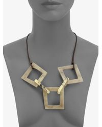 Lafayette 148 New York - Metallic Wood Resinlink Leather Necklace - Lyst
