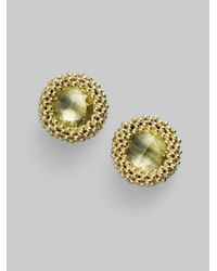 Lagos | Green Quartz 18k Gold Stud Earrings | Lyst