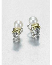 Lagos | Metallic Freshwater Pearl Sterling Silver and 18k Yellow Gold Earrings | Lyst