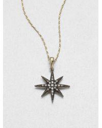 Mizuki | Black Diamond Sterling Silver 14k Yellow Gold Starburst Necklace | Lyst