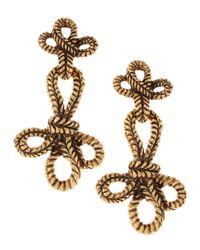 Oscar de la Renta | Metallic Knotted Rope Clip Earrings | Lyst