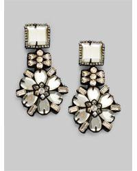 Ranjana Khan | White Mirrored Flower Drop Earrings | Lyst