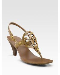 0dfcdb394a53 Lyst - Tory Burch Holly Logo Sandals in Brown