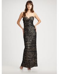 Vicky Tiel - Black Ruched Lace Strapless Gown - Lyst