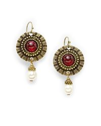Ben-Amun | Red Byzantine Drop Earrings | Lyst